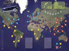 The game board for Pandemic