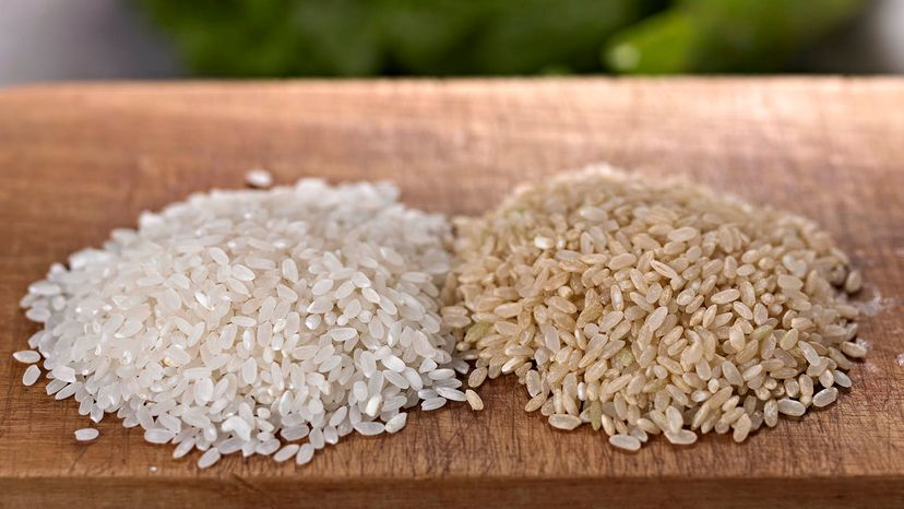 brown and white rice
