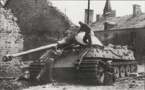 During 1944, numerical designations for Nazi German tanks were dropped. The Panzerkampfwagen VI Tiger II became known as the Tiger Ausf B.