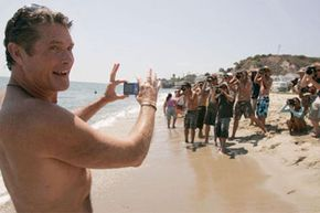 David Hasselhoff embraces the paparazzi outpouring.