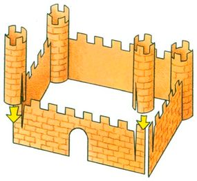Attach the turrets to the walls of the Paper Castle.