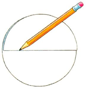 Draw a pencil line through the center of the plate.
