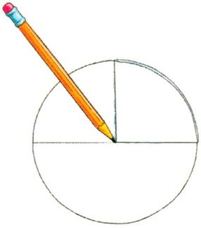 Mark the center of the plate with your pencil.
