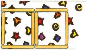 Arrange craft sticks as shown.
