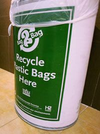 Many stores offer bins for properly recycling old plastic bags.