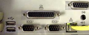 An example of a parallel port on the back of a desktop computer.