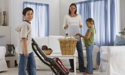 Get the kids to help out with the chores. It will make the work go much faster for all.