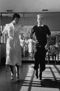 Some people will undergo physical therapy to help retain dexterity. Margaret Bourke White worked with a nurse in the late 1950s.