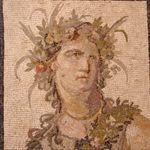 A mosaic of the party god Dionysus, known in Rome (where this was made) as Bacchus.