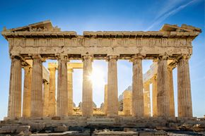Sun blazes through the Parthenon, a well-known and well-built symbol of ancient Greece.