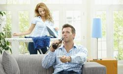 Maybe he thinks you enjoy ironing like he enjoys TV.