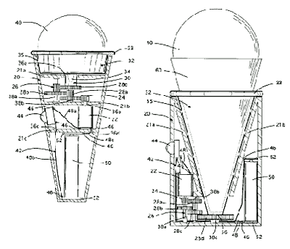 A motorized ice-cream cone, patented in 1998 by Richard Hartman. The patent (# 5,971,829) describes the device as 'A novelty amusement eating receptacle for supporting, rotating and sculpting a portion of ice cream or similarly malleable food while it is being consumed.' Even this relatively simple novelty item has a fairly extensive patent. It includes seven claims and six drawings, and it cites 15 earlier patents.