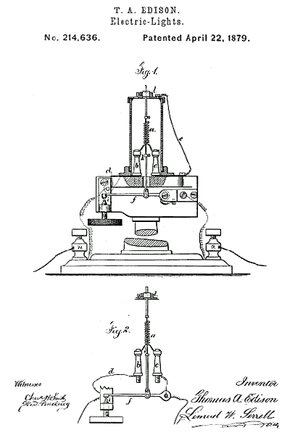 An illustration from Thomas Edison's 1879 patent on an electric light, his first such device. Edison expanded on the ideas in this patent throughout his career, claiming hundreds of patents related to electric lighting.