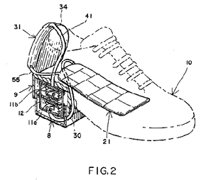 An illustration from U.S. patent # 5,375,430, a 'gravity-powered shoe air-conditioner.' Like many inventions, this device does not introduce any new concepts, but instead combines two existing concepts in an original way. The shoes, patented in 1994 by Israel Siegel, are powered by the walking motion of the user. Each time you take a step, your heel works to activate the air-conditioner compressor and expander.