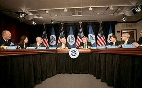 President George W. Bush and the Department of Homeland Security discuss the war on terror.