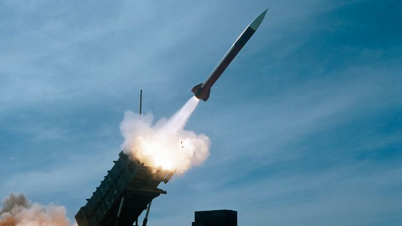 Patriot missile launching into the sky