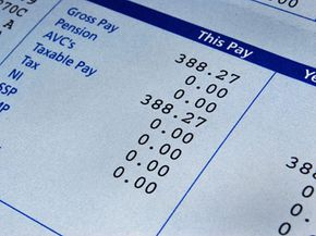 Payroll systems produce checks for a company's employees, who will receive payslips like this one.