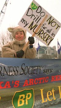 Protests like this one over proposed Arctic oil drilling in 2000 could have little, if any, impact on the peak oil crisis.