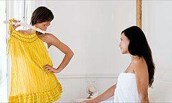 Help your friend go through her closet to remove problem items.