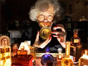 """""""Perfume detective"""" Anitra Earle smells a bottle of perfume she tracked down for a client in 2000. Earle specializes in finding discontinued perfumes or scents that are no longer imported."""