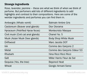 Perfume can contain some bizarre ingredients.
