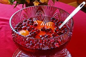 Fruit adds a festive touch to a holiday punch. See more pictures of holiday noshes.