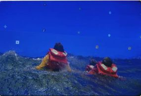 Part of a scene, shot in a wave pool with a blue screen. ILM later added the rest of the scene using computer-generated water, sky, helicopter and diver.