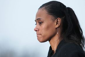 Track star Marion Jones makes a statement prior to her sentencing for lying about steroid use.