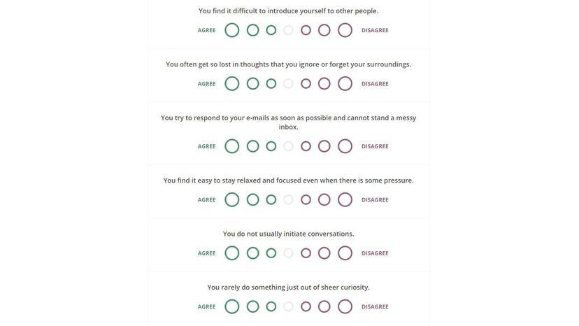 screenshot of free test on 16personalities.com