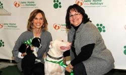 Actress Hilary Swank and her mom pose with puppies at an event to raise awareness for pet adoption.
