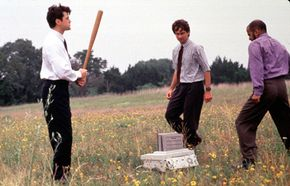 """In this scene from """"Office Space,"""" employees destroy company property. Could this be an act of self-sabotage to avoid a promotion?"""