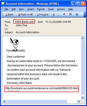 Address spoofing is the most common trick phishers use to gain information.