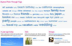 You can search through popular tags, sets of photos and groups of photos that follow specific themes.