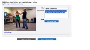 Members can add descriptions, titles and tags to uploaded photographs.