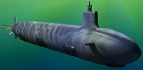 A computer-generated image of what the new Virginia-class attack submarines will look like.