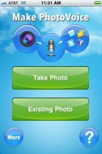 A screenshot of the PhotoVoice app