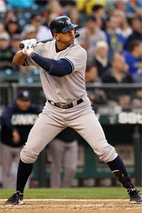 A-Rod waits for a pitch from the Seattle Mariners as he bats for the Yanks in 2012. Somehow he doesn't look intimidated by what's about to come his way.
