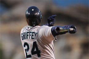 Ken Griffey Jr. bats against the Los Angeles Angels as a Seattle Mariner on May 29, 2009. The Kid's swing was much admired during his time in the majors, from 1989-2010.