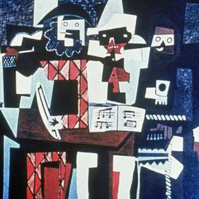 """""""Three Musicians,"""" a 1921 painting by Pablo Picasso, was done in the Cubist style"""