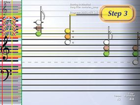 By the time you reach step three, the symbols have changed to real musical notes, though they are color-coded.