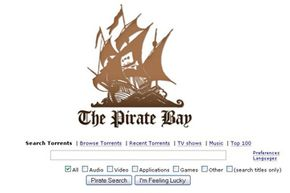 The Pirate Bay main page follows Google's design trend, with a simplified front page to start your torrent search.