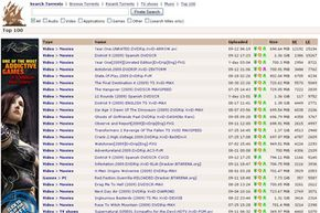 Search results for each torrent at The Pirate Bay include the size of the file, the current number of seeders and leechers, and skull-and-crossbone icons showing the trustworthiness of the original provider.