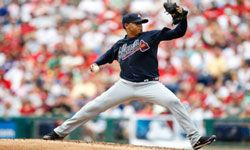 Pitcher Jair Jurrjens of the Atlanta Braves prepares to throw during a game against the Philadelphia Phillies on July 8, 2012.