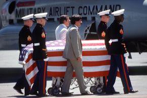 The body of DEA officer Enrique Camarena leaves Guadalajara, Mexico, en route to California, for his funeral.