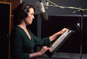 Award-winning actress Sigourney Weaver records the Planet Earth narration in a sound studio.