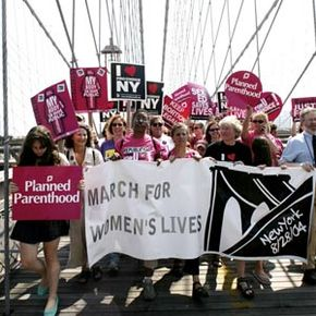 """Planned Parenthood supporters in the 2004 """"March for Women's Lives."""""""
