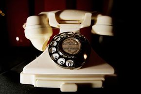 """A Bakelite telephone in """"100 Years of Plastic"""" at the Science Museum in London in 2007. The exhibition was a celebration of plastics timed to coincide with the 100th anniversary of Leo Baekeland's invention of Bakelite."""