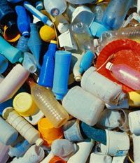 Man-made plastics like these are derived from oil.