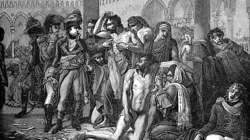Napoleon Bonaparte visiting plague-stricken residents of Jaffa.