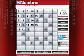 To play Numbrix, you must fill in all of the blanks with consecutive numbers between one and 81. The only rule is that the numbers must be along the vertical and horizontal axis, not the diagonal.